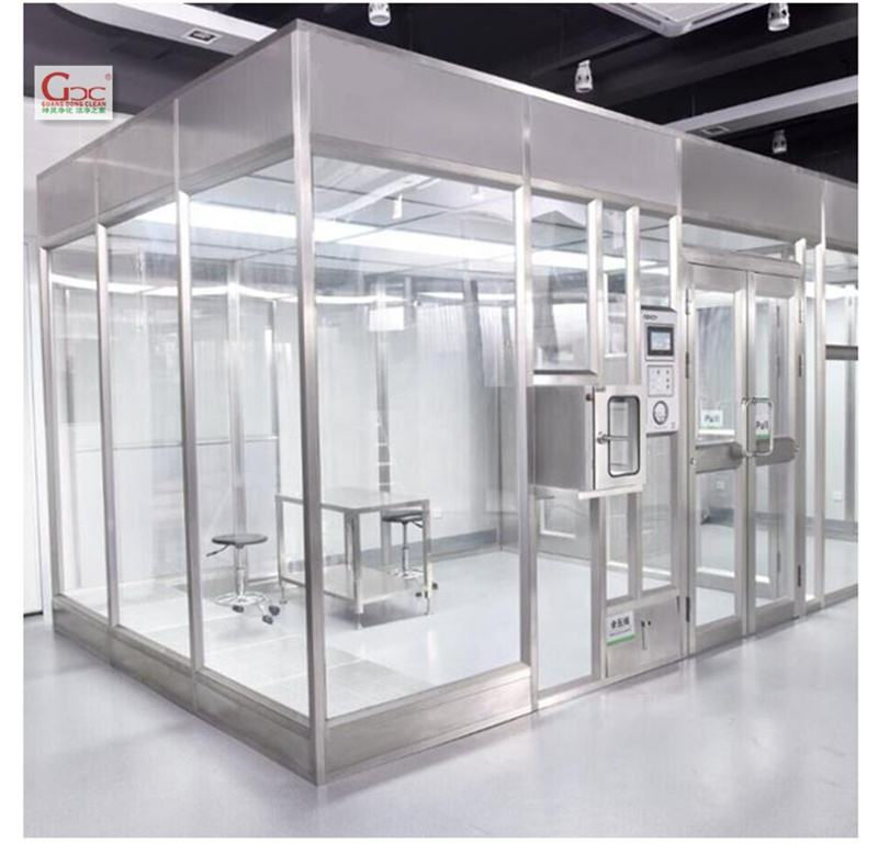 Portable modular purification sofe wall clean room with adjustable wheel and curtains & FFUs & air shower & air filter