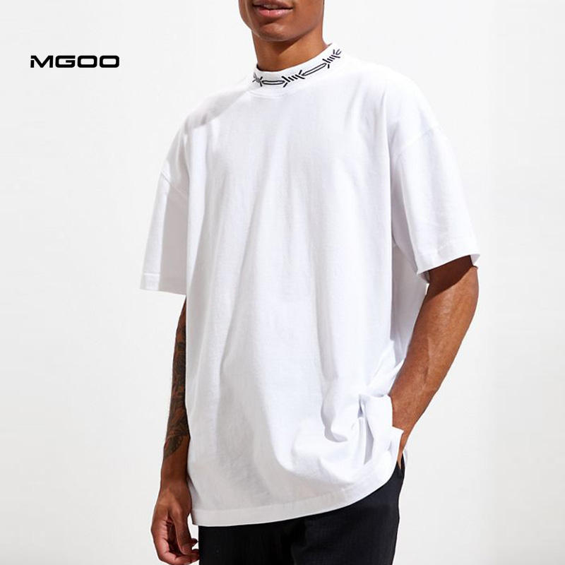 MGOO Custom Made Woven Logo Collar Plain White Drop Shoulder High Neck Tee