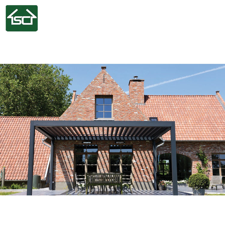 Outdoor waterproof louvered roof pergola kits electric retractable aluminium pergola bioclimatic