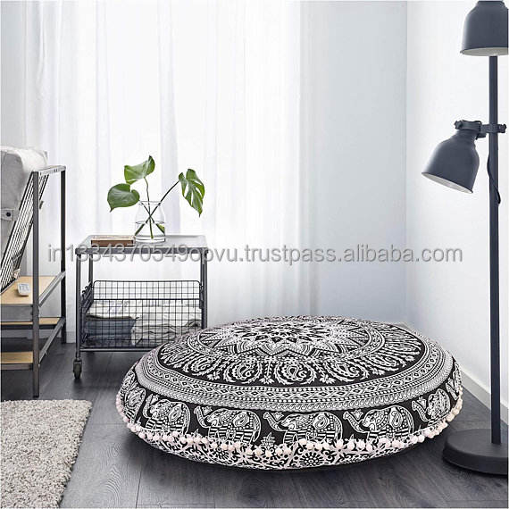 Eye Catching Indian Hippie Traditional Round Elephant Print Floor Pillow Cover Contemporary Decor Pouf Case Mandala Cushion Case