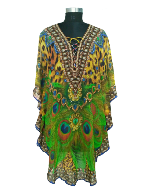100% silk animal print collection of kaftan apparel for women