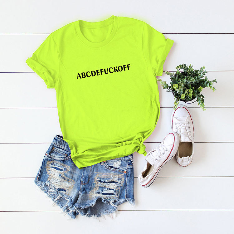 Casual Letter Print Short Sleeve Cotton Women T-shirts