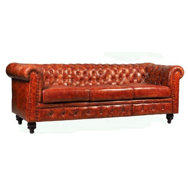 Industrial European style classic 3 seater design wooden chesterfield leather antique sofa