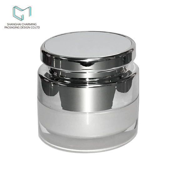 Silver Acrylic cream round jar double layer special cap for 50ml 30ml 15ml