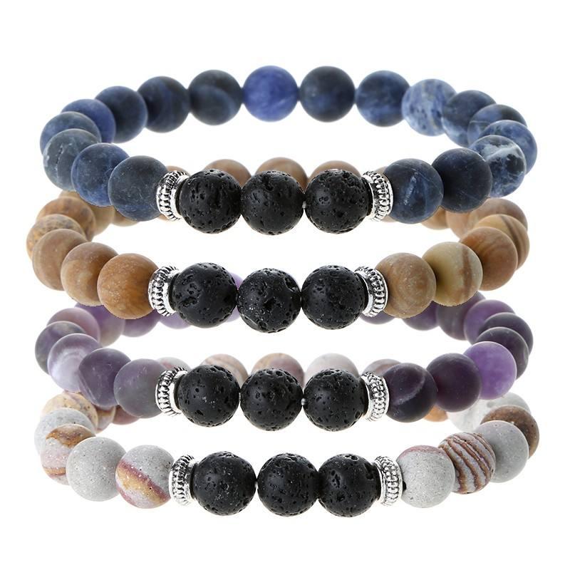 3 Lava Beads Natural Gemstone Beads Anxiety Healing Crystal Bracelet