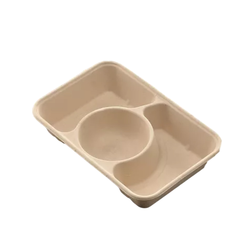 Wheat Straw Pulp Bio-degradable 3 Compartments Food Container/Takeaway Plate/ Takeaway Bowl
