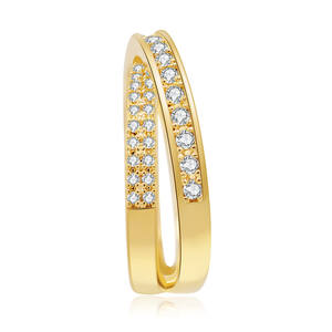 Wholesale Latest Jewelry Inter Cross Overlapping Lines Bling CZ Gold Plated X Design Ring
