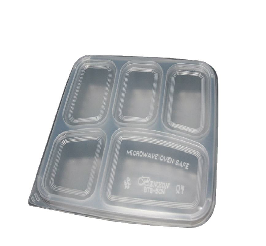 BTB-5CN Plastic Rectangular Disposable Take Away Box 5 Compartments Bento Box for Restaurants Catering Parties