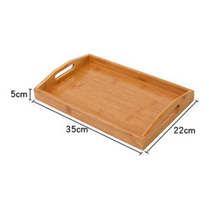 Bamboo Serving Tray Natural Bamboo Wood Serving Tray for Food Tea With Handle