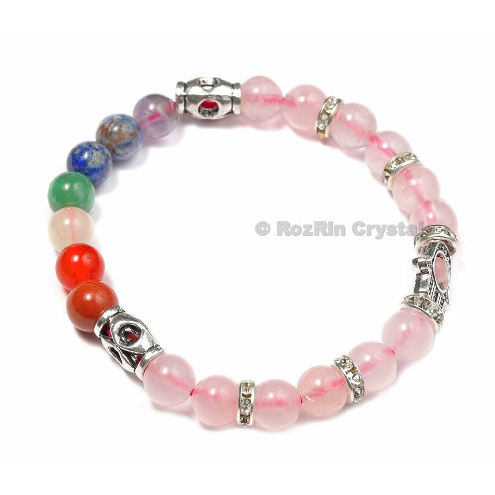 Best Value of Chakra Hamsha with Rose Quartz Bracelets : Chakra Hamsha with Rose Quartz Bracelets For Sale