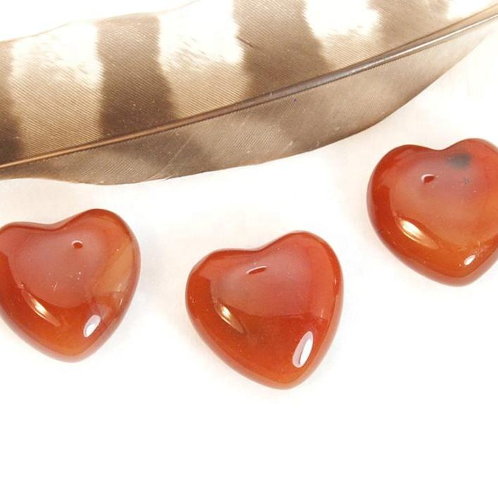 10mm Natural Carnelian Heart Cabochons Loose Gemstones