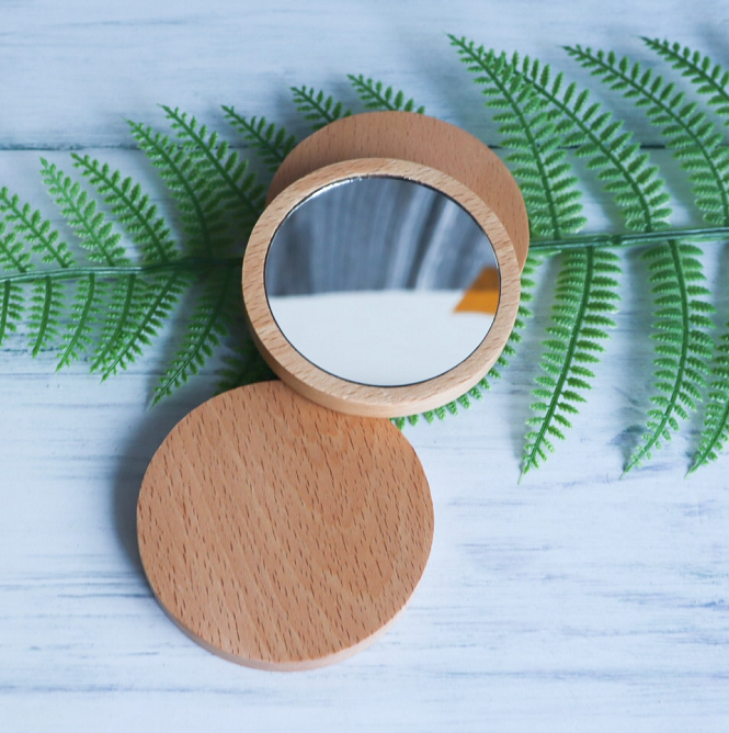 Portable private logo mini small round fashion wooden bamboo wood custom engraved pocket mirror