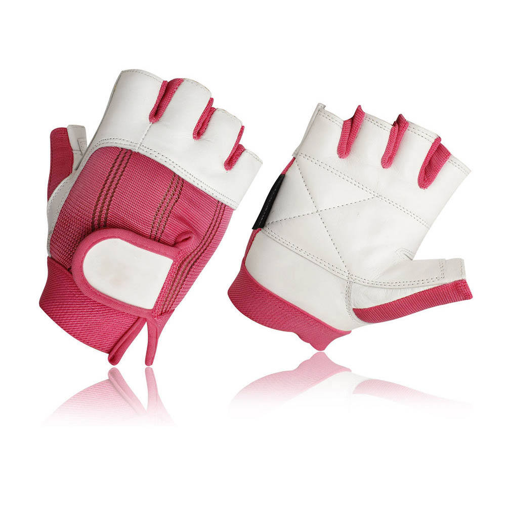 Gym Gloves With Whit And Pink Color Half Finger
