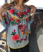 Summer latest Mexican embroidered dress women ethnic blouse vintage clothing high