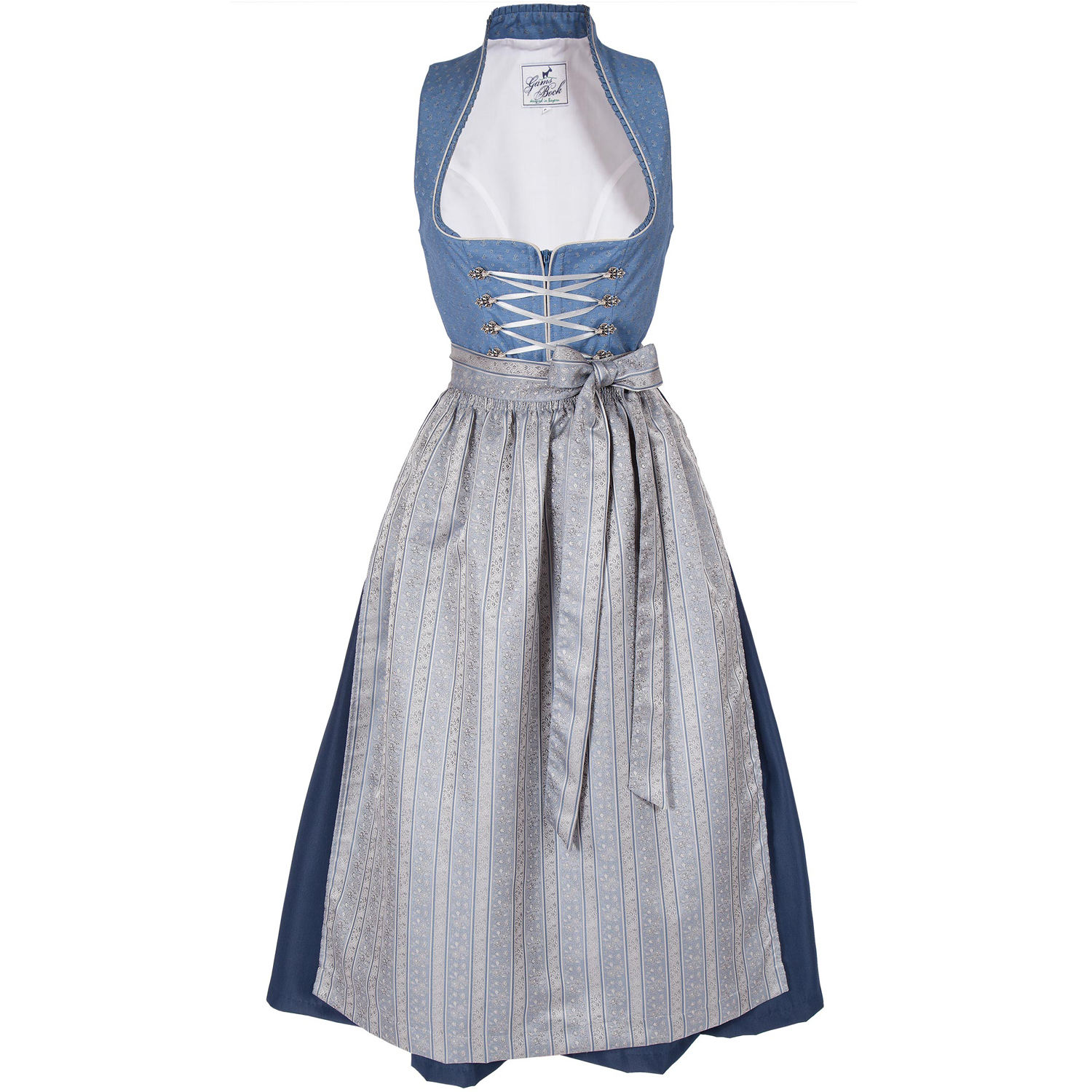 Dirndl long Tessa in blue and silver
