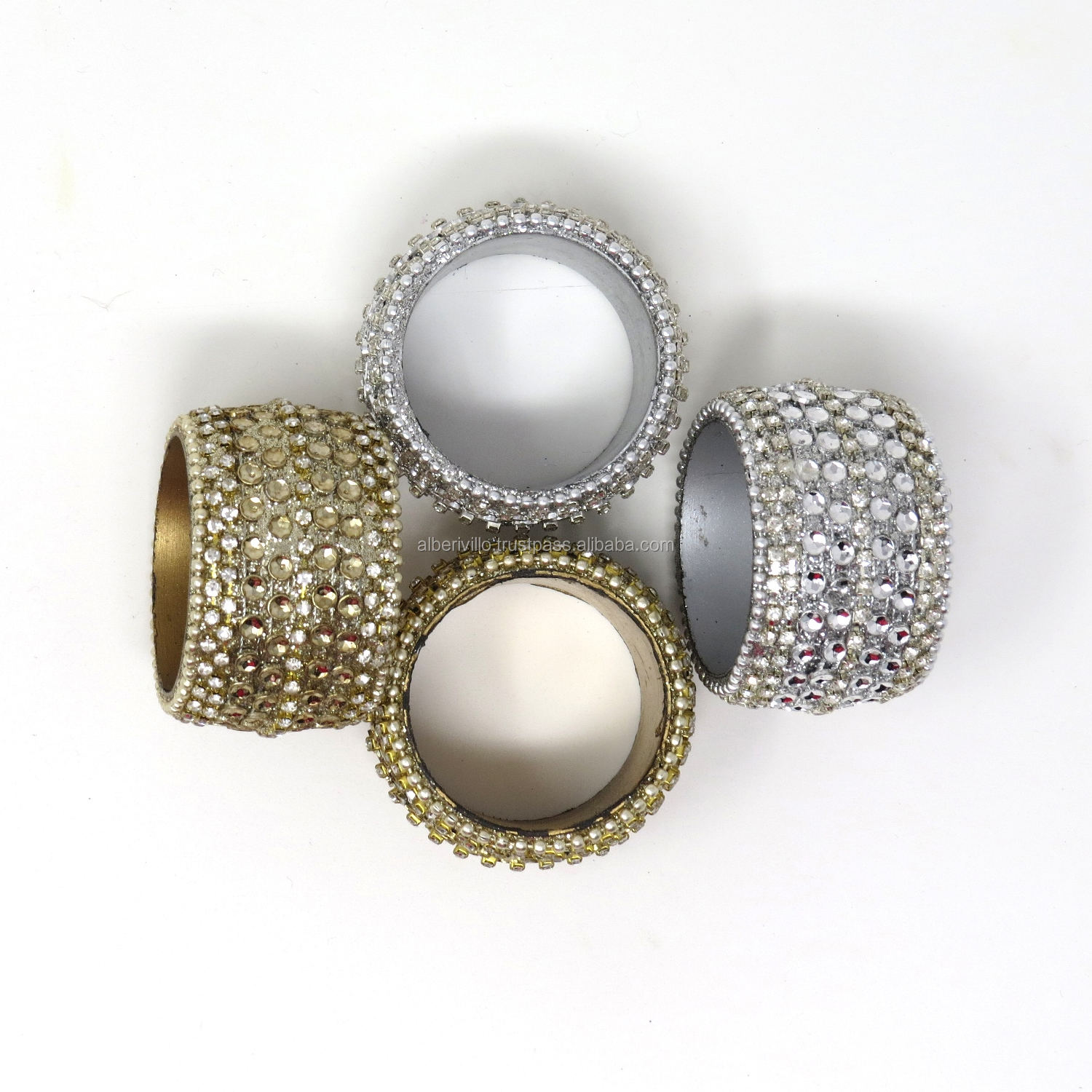 Wholesale Set of 4 Round Beaded Napkin Ring Holders Indian Handicrafts