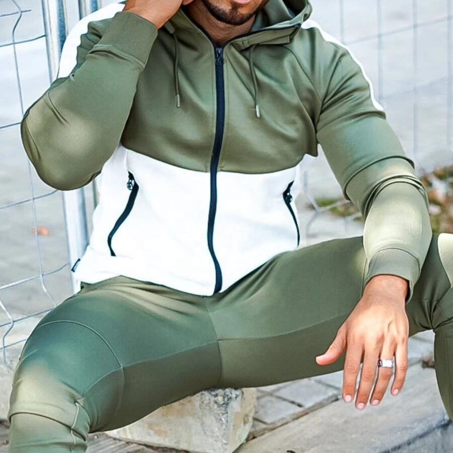 Men Tracksuits Custom Logo Zipper up sweat shirt suit 2 PC Set Men Fleece Jogging Sets Gym Sports Wear Training Suits