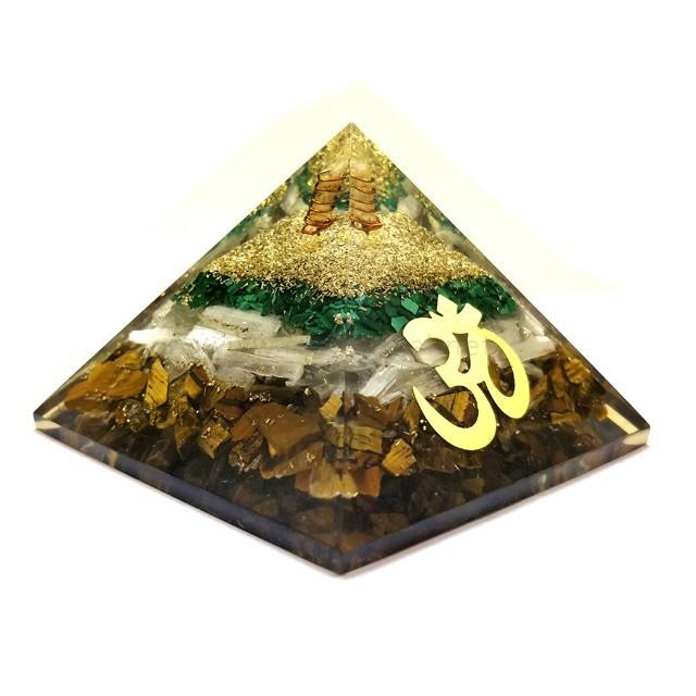 New 3 Layer Orgonite Pyramid, Malachite And Selenite With Om Symbol, Tiger Eye Orgone Pyramid