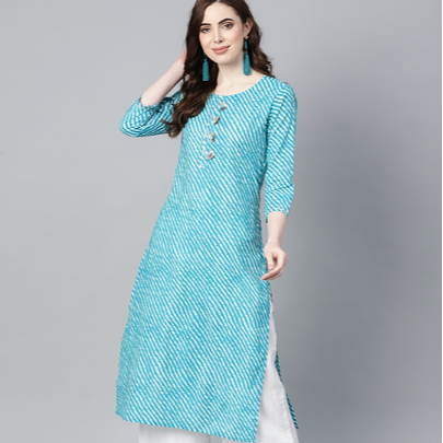 Cotton Women Causal Wear Women Ethnic wear Cotton Lehariya kurti