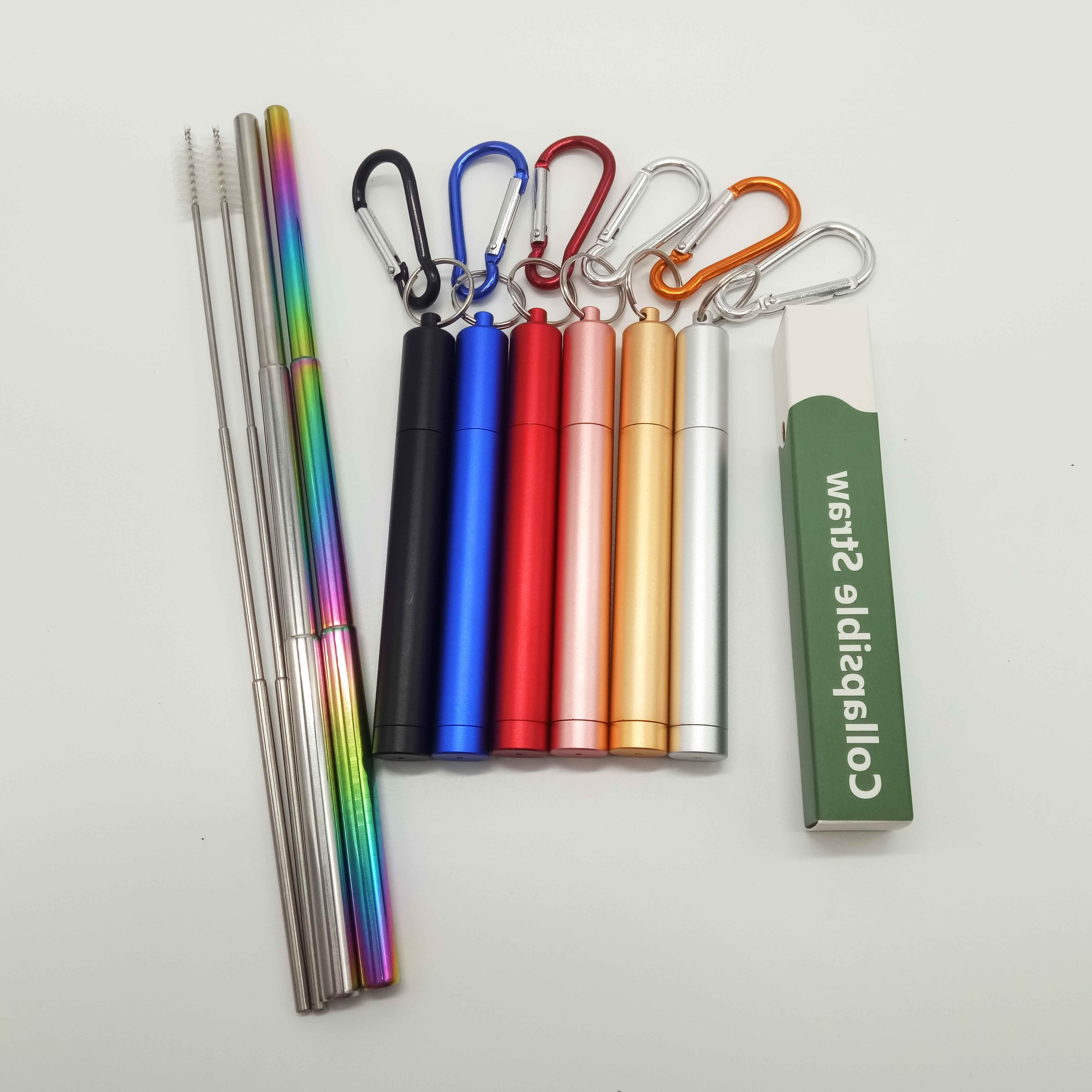 Professional Manufacturer Hot Sale Collapsible Telescopic Metal Drinking Straw