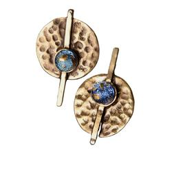 "Brass Stud Earrings with Silver Plugs Jewelry ""Traces of Ancients"""