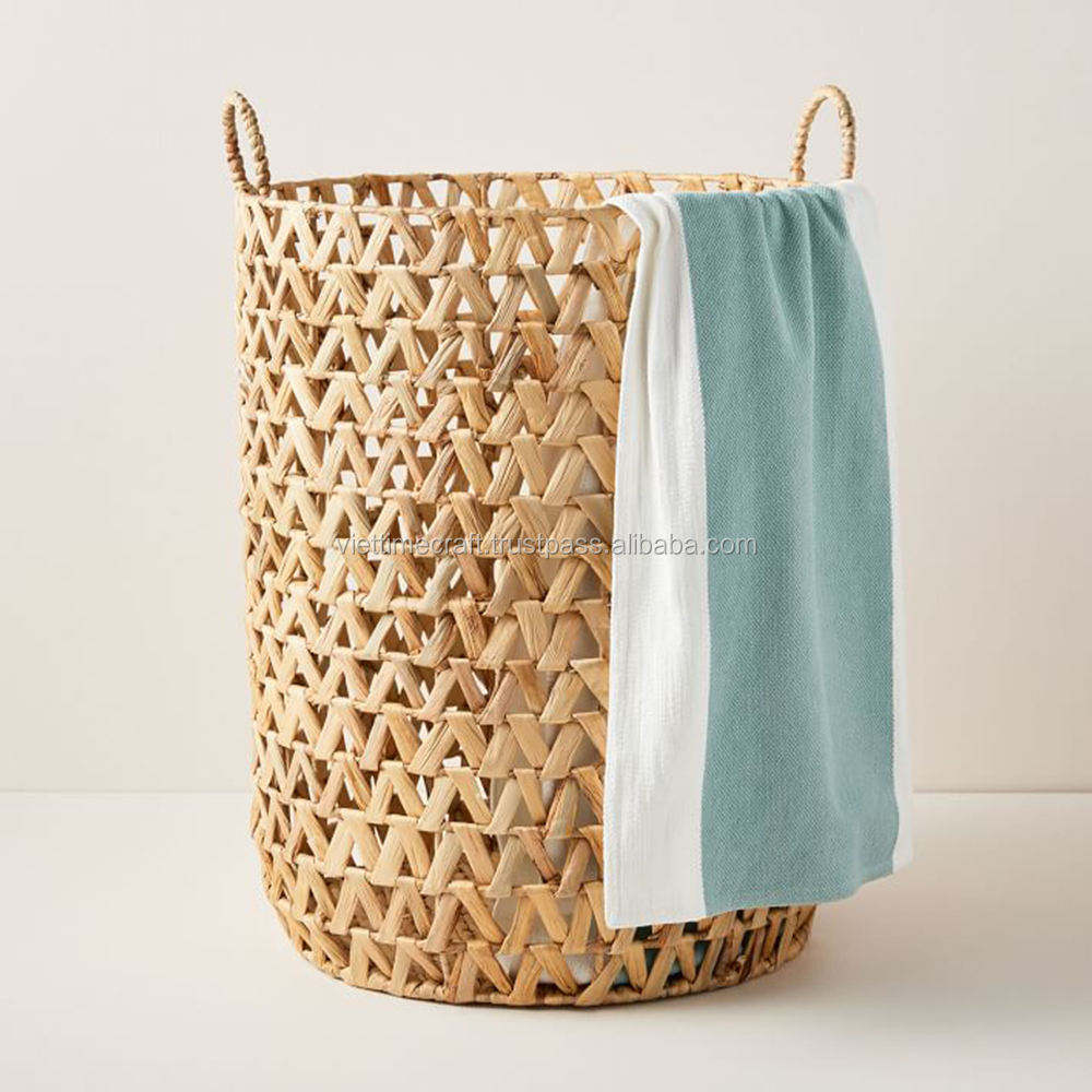 Woven Water hyacinth laundry basket with handles for Home