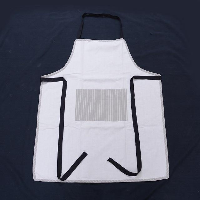New Fashion Custom Made 100% Cotton Made White Color Handcraft Beautiful With Pocket Short Apron