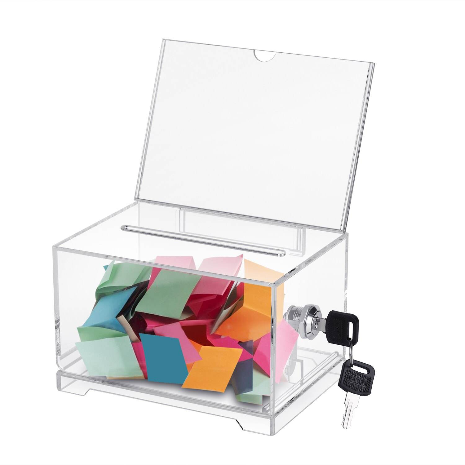 Clear Acrylic Ballot Raffle Ticket Collection Locked Storage Container with Removable Sign Header
