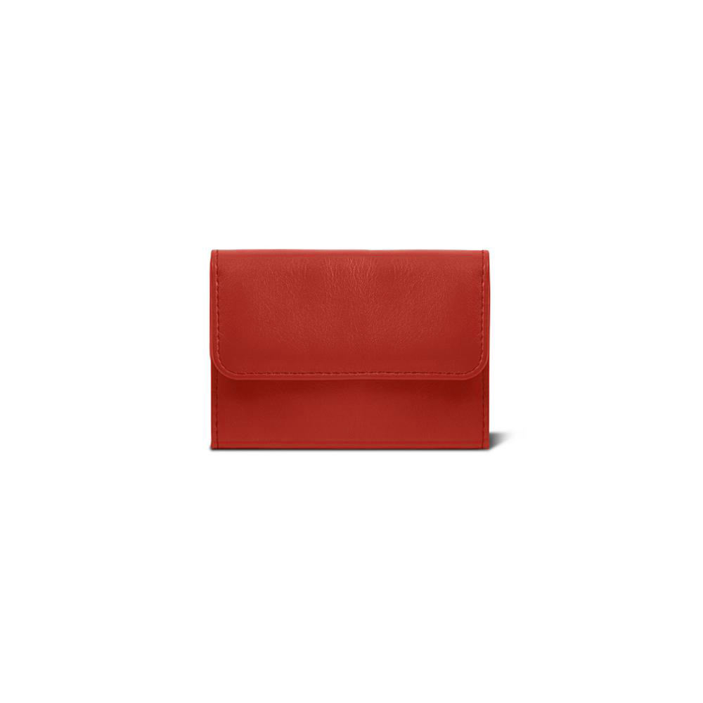 Hot Sale Red Color Pouch Genuine Leather Wallets For Women With Button Closure
