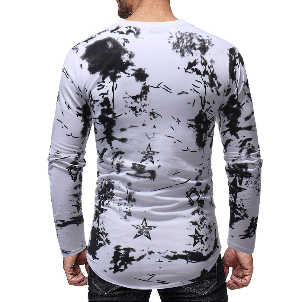 mens Fashion Streetwear New foreign trade men's fashion one's morality leisure long-sleeved T-shirt