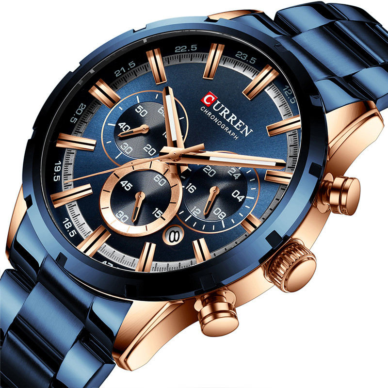 TOP brand Curren Mens chronograph Luxury Watches steel band quartz Male clock gold chain watch for men