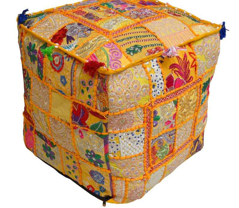 Hand Embroidered Decor Ottoman Cover Colorful Handmade Square Pouf Cover