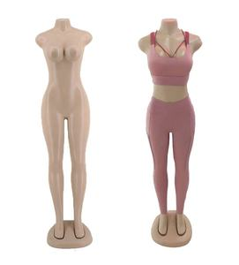 Hot sale plastic full body big bust manikin skin color female headless mannequin for clothes display