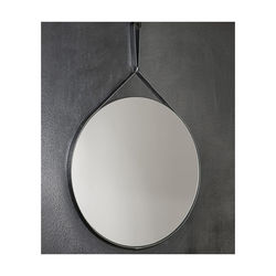 Round mirror with PU leather hanging straps Made in Italy mirrors