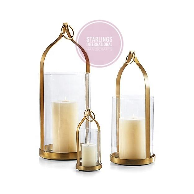 Beautiful brass matt finish glass hurricane candleholder