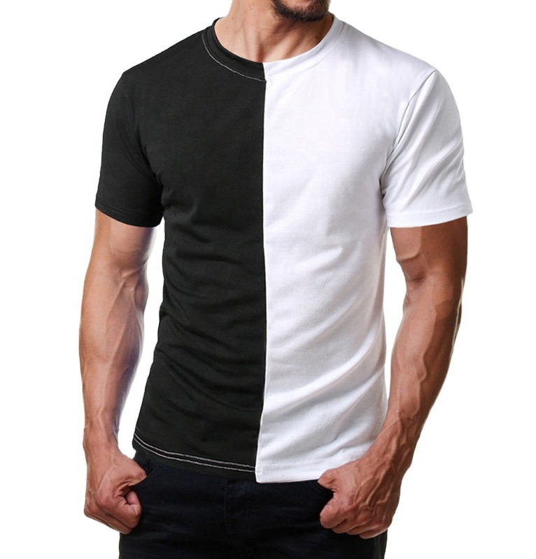 Custom Mens Split Two Tone Color Block Half Black Half White T Shirt