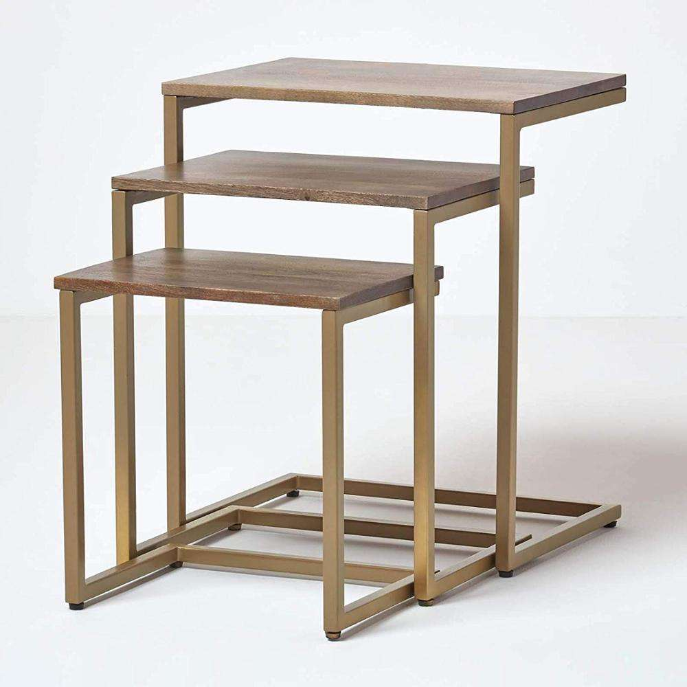 Industrial Nest of 3 Tables 60cm Tall Grey Finish Natural Shade Nesting Tables Multi-Functional Mango Wood and Gold Metal Frame
