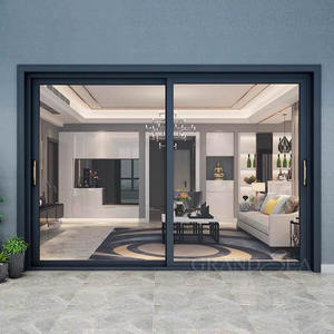 Large Aluminium horizontal sliding double tempered glass door for living room