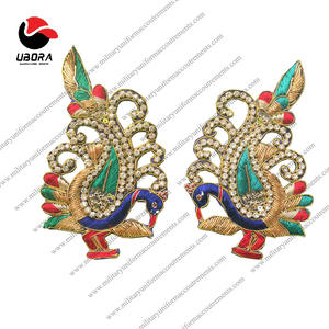 Wholesale Brooch for saree hand embroidery brooch badges Bullion wire fashion jacket Indian Brooch Badge