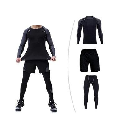 3 Piece Workout Clothing Male Fitness Wear, Gym Wear, Men Running Clothing Gym Sports Quick Dry Fitness Yoga Wear Sportswear