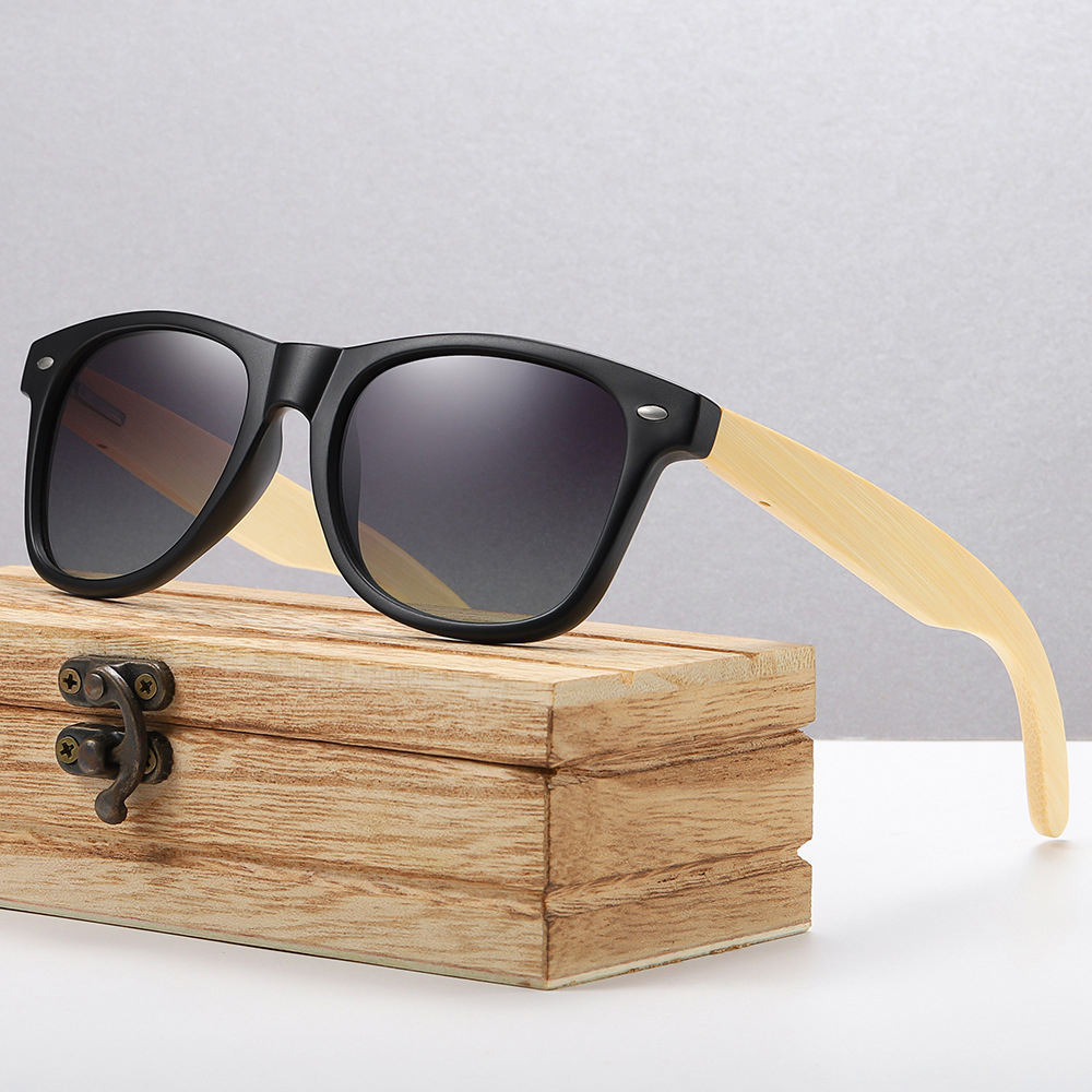 orange lens cheap custom logo men retro wooden bamboo sunglasses