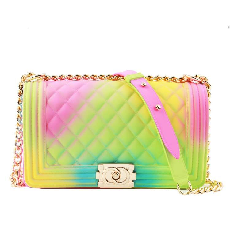 Trendy PVC shoulder brand colorful jelly bag chain handbags for women