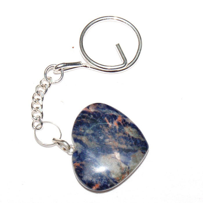 Get Sodalite Hearts Keychain Online : Sodalite Hearts Keychain For Sale