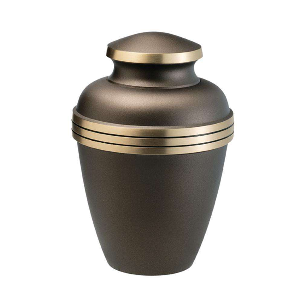 Metal Brass funeral caskets and urns Black Cremation Urns With Front Broad Border On The Front
