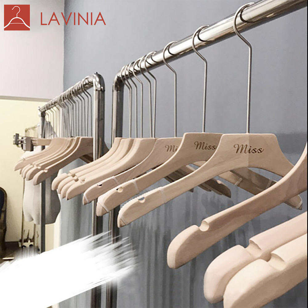 LAVINIA Lacquer Free Environmental Long Neck Wooden Coat Hanger