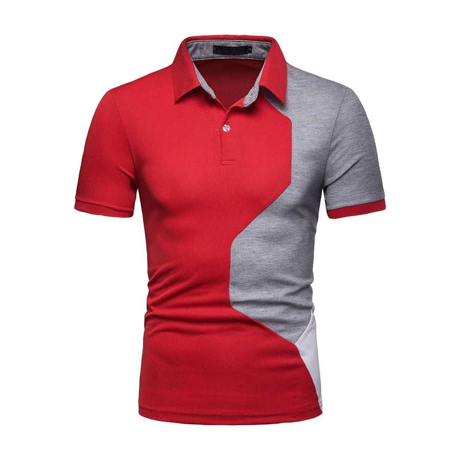 New Summer Polo Shirt Men Casual Patchwork Short Sleeve Polos Men Slim Fit Polo shirts