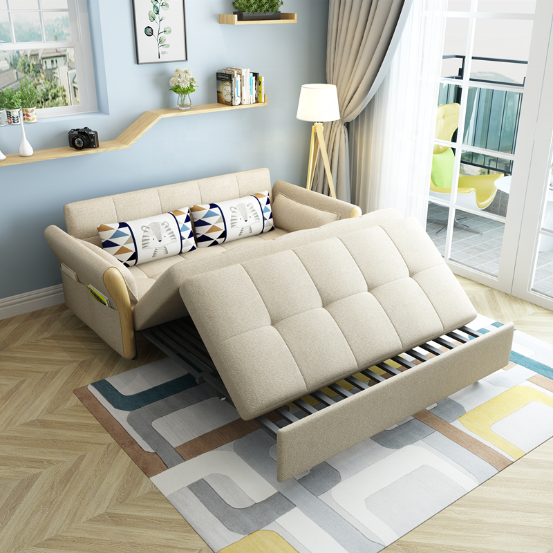 Portable Folding Sofa Bed Solid Wood Frame Convertible Sofa Three Seat Sofa Cum Bed Living Room Furniture Couch