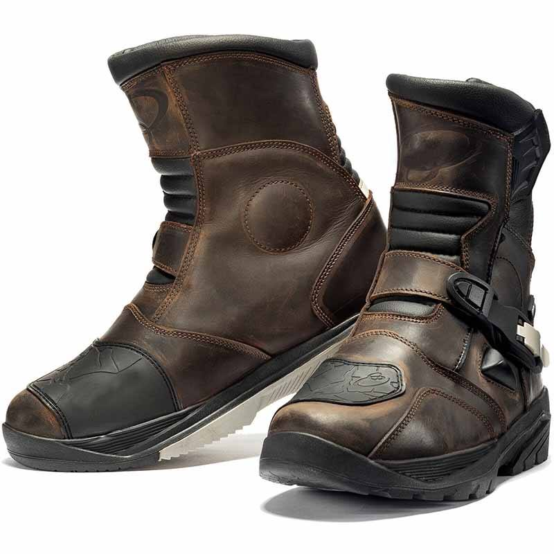 Brown Mid Waterproof Motorcycle Touring Leather Boot