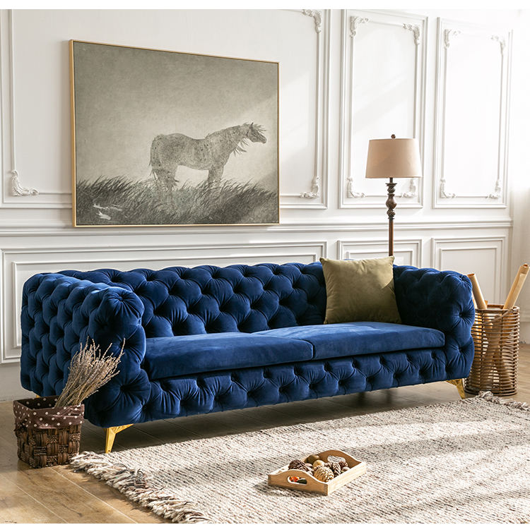 Sofas for home modern furnitures luxury 2 seater blue velvet deep button couch living room sofa