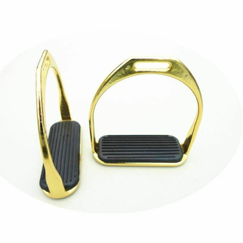 Horse Nickel Plated Gold Racing Stirrups Horse Equipment 12.5cm